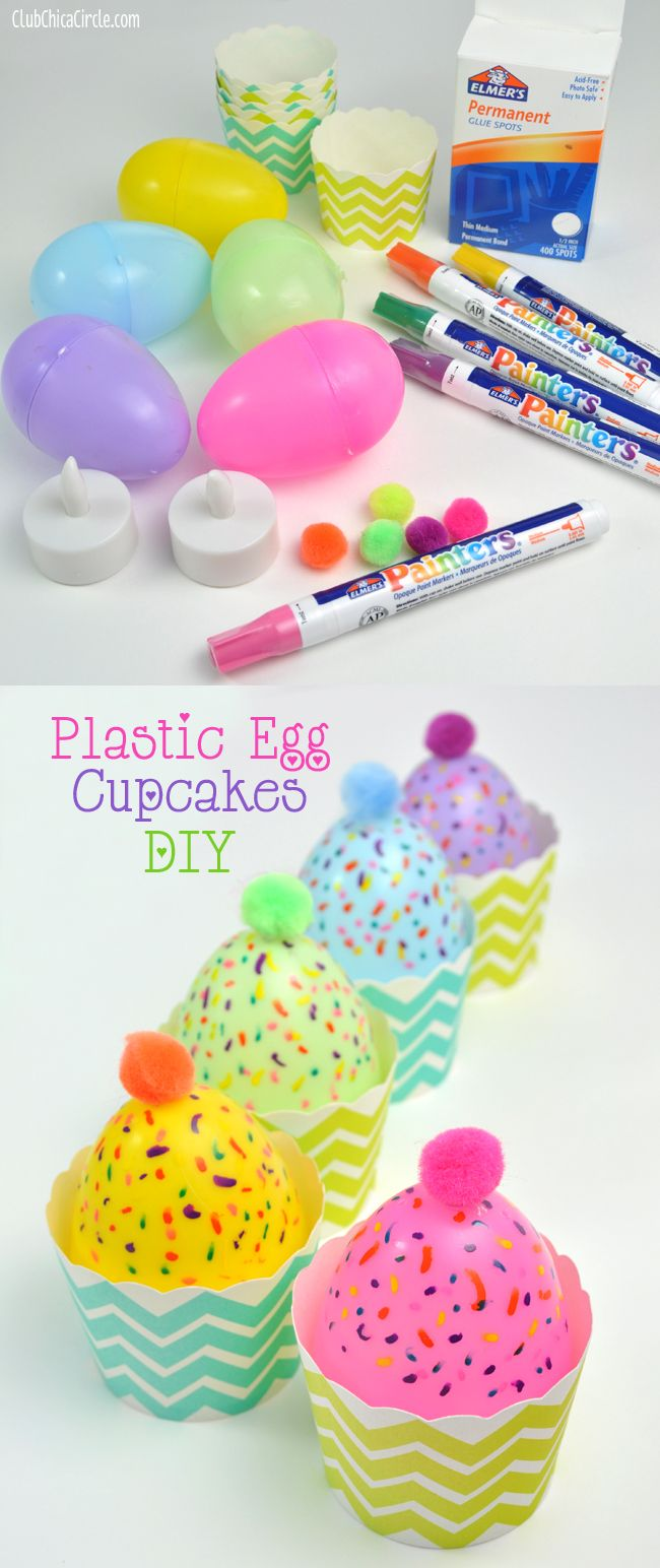 Easy Plastic Egg Cupcake Candle Decorations and Treat Cups | Tween Craft Ideas for Mom and Daughter