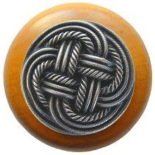Classic Weave Wood Knob in Antique Pewter/Maple wood finish…
