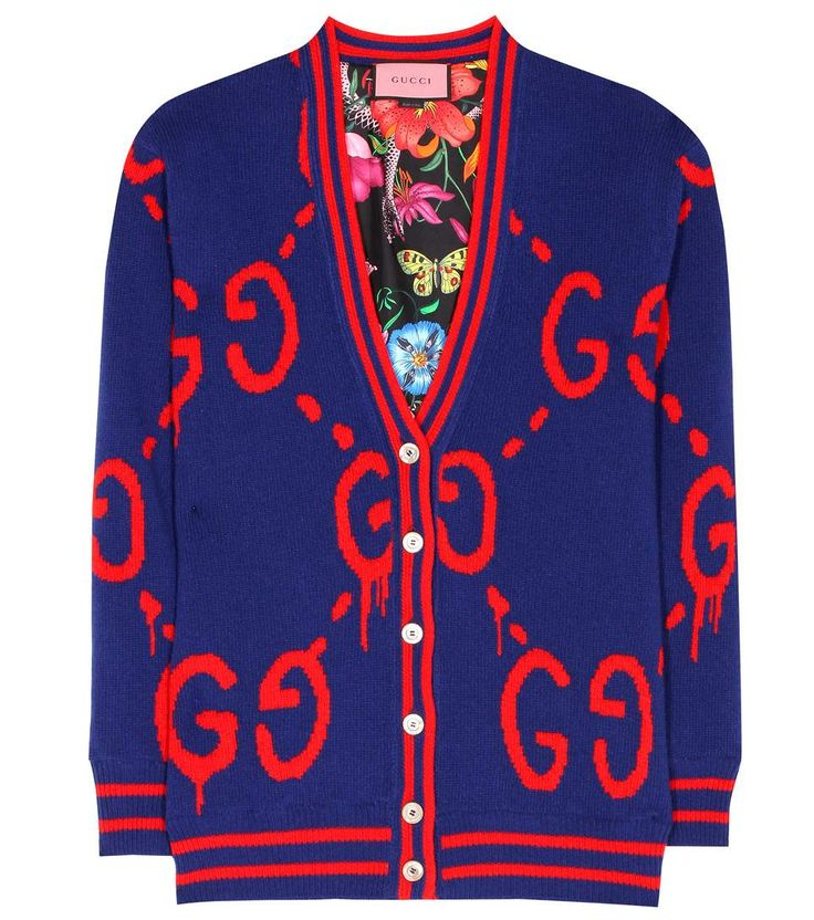 GUCCI GucciGhost reversible wool and silk cardigan. #gucci #cloth #cardigan