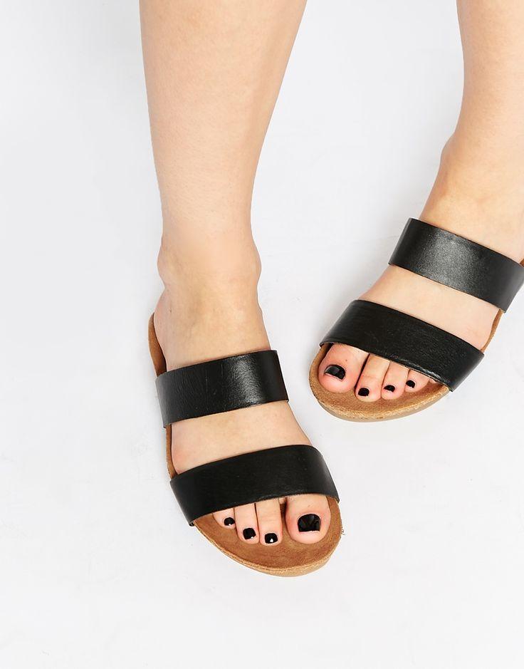 Image 1 ofASOS FENDALL Footbed Leather Sliders