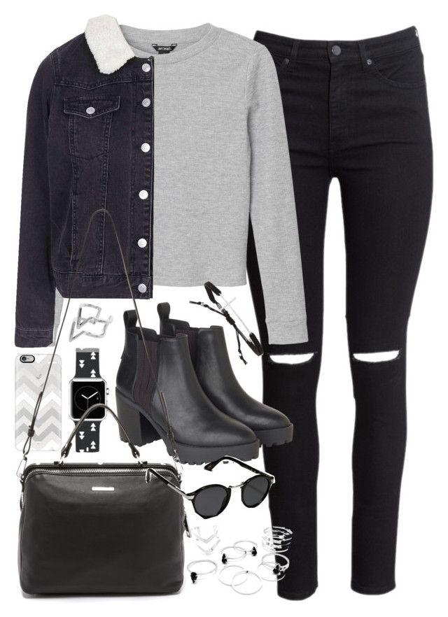 """Outfit with a denim jacket for winter"" by ferned on Polyvore featuring H&M, Monki, Casetify, Topshop, Linea Pelle, Edge of Ember, Tai and Abercrombie & Fitch"