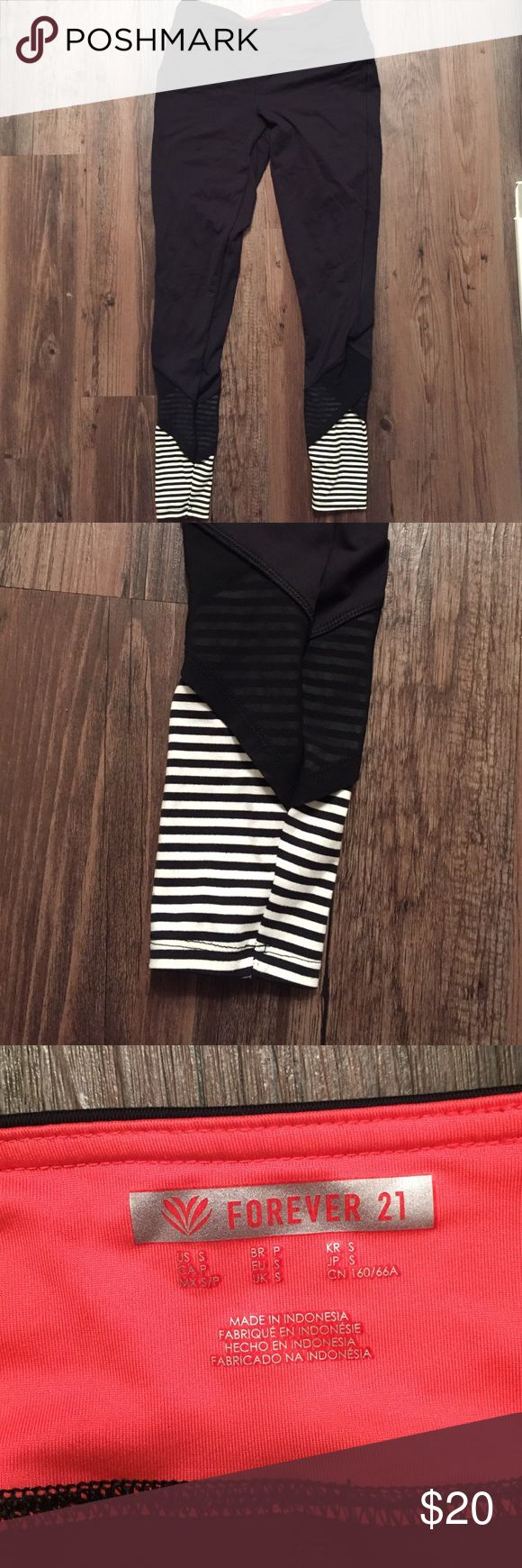 Forever 21 Black Gym Legging Pant - Striped Forever 21 women's fitness legging/tight pants. Black pant with black and white stripes at ankle with sheer overlay about and inch over the striped area. Stretchy & Comfy! Forever 21 Pants Leggings