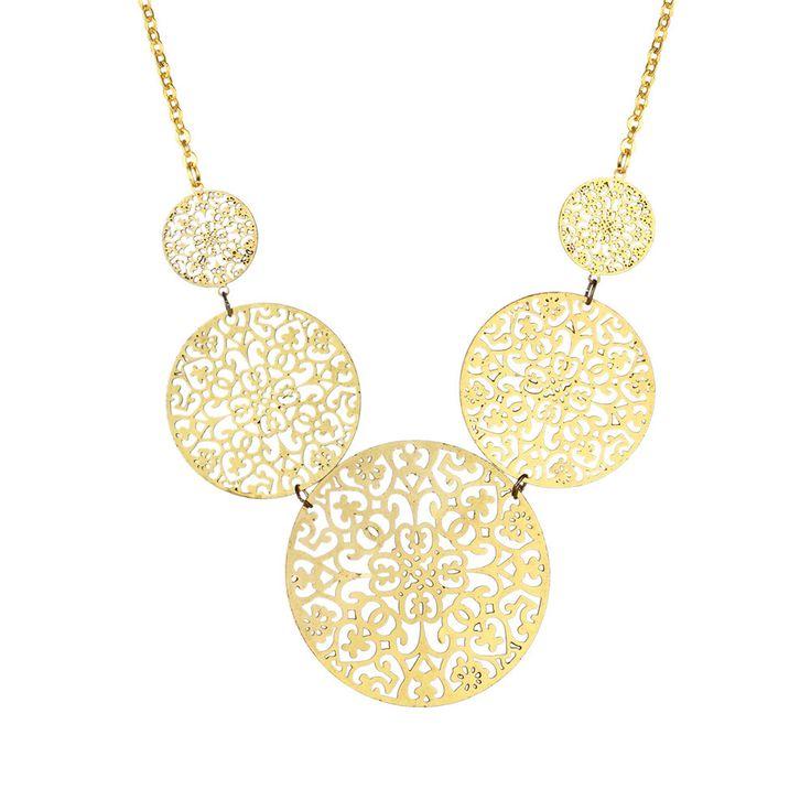 New Women Long Necklace Vintage Filigree Boho Golden Choker Chain Copper Hollow Circular Mandalas Jewelry Pendants Colier Taki