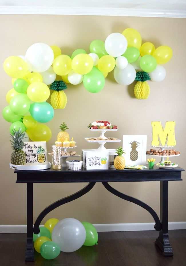 Party Like A Pineapple For Under $100 plus a balloon garland DIY and a 40% off coupon to Hobby Lobby! | Pretty My Party
