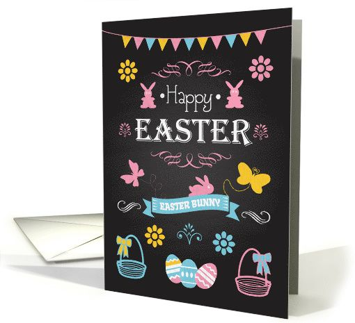 Trendy chalkboard retro Easter card with cute graphics, such as pink bunnies, butterflies, decorated eggs, and Easter baskets. Playful card perfect for the season.  greetingcarduniverse.com/jjbdesigns   #greetingcard #greetingcarduniverse #greeting #card