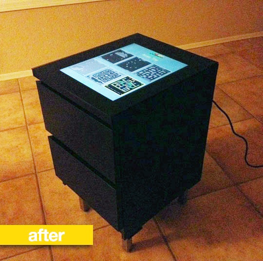 DIY tabletop arcade game complete with pullout controls - My man will love this!