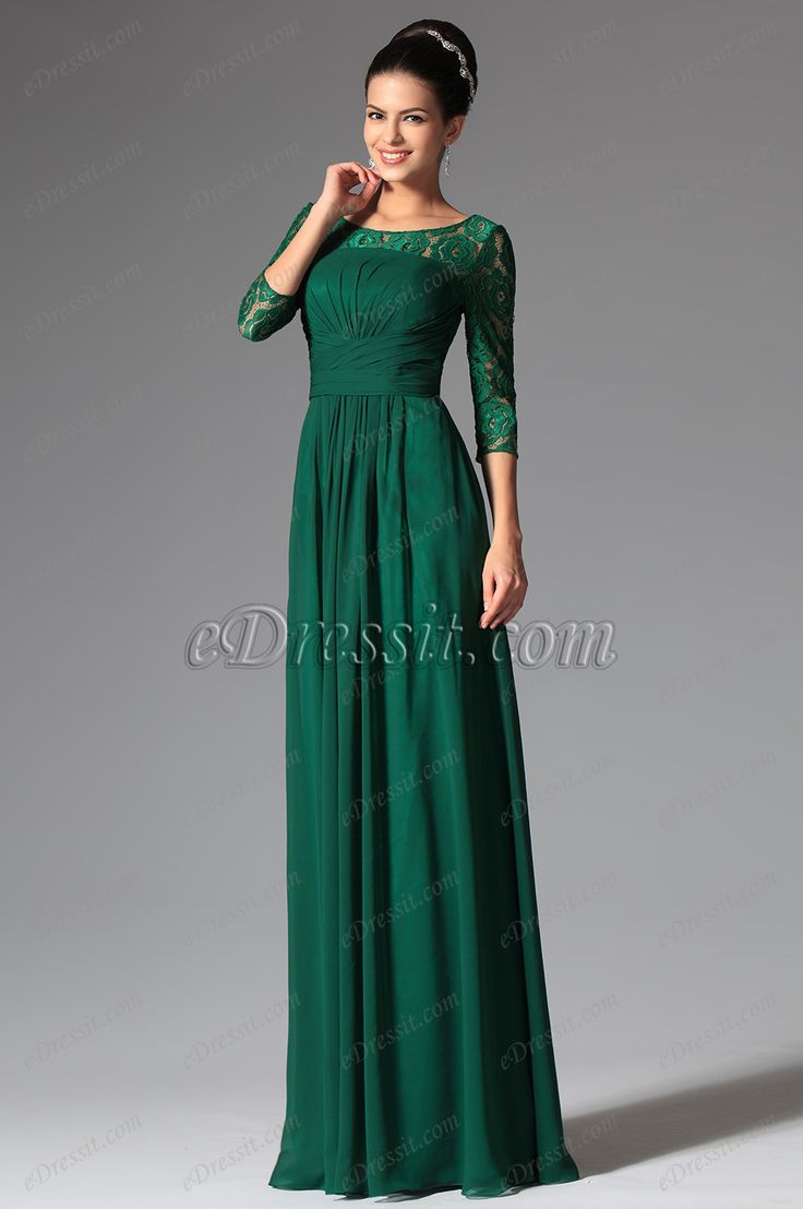 Elegant lace sleeves dark green mother of the bride dress