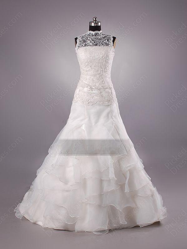Find Wholesale - Princess High Neck Organza Sweep Train Ivory Lace Wedding Dress at Pickeddresses.com