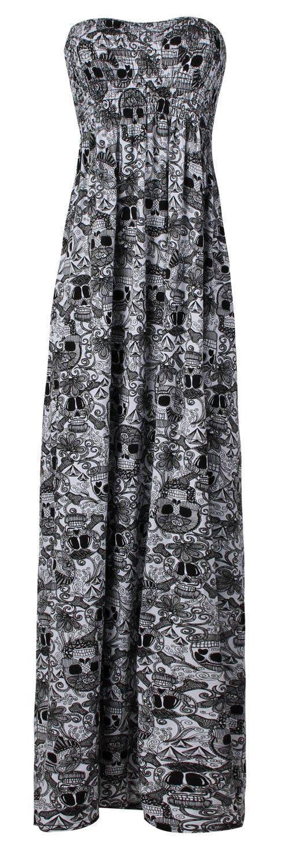 Women's Plain Sheering Boob Tube Maxi Dress - My Sugar Skulls