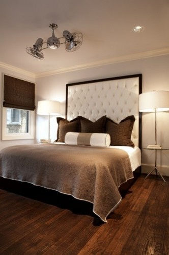 We have a headboard, but I do like the thought of a big statement piece behind it.Ideas, Contemporary Bedroom, Beds, Ceiling Fans, Head Boards, Master Bedrooms, Upholstered Headboards, Design Studios, Ceilings Fans