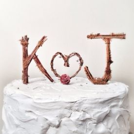 Rustic Monogram Wedding Cake Topper  Personalized  Any Two Letters and a  Heart on Etsy  K and J are common letters 194 best Wedding Cake Toppers images on Pinterest   Marriage  . Real Simple Wedding Cakes. Home Design Ideas