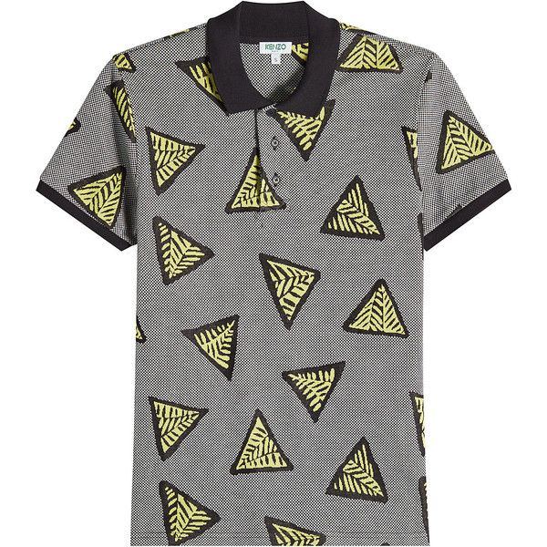 Kenzo Printed Cotton Polo Shirt ($170) ❤ liked on Polyvore featuring men's fashion, men's clothing, men's shirts, men's polos, multicolored, colorful mens dress shirts, mens print shirts, mens patterned shirts, mens cotton shirts and mens slim fit polo shirts