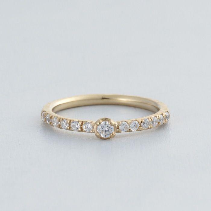 エンゲージリング:Viola(ヴィオーラ) ハーフエタニティの婚約指輪 K18 Gold ダイヤモンド diamond wedding ウエディング