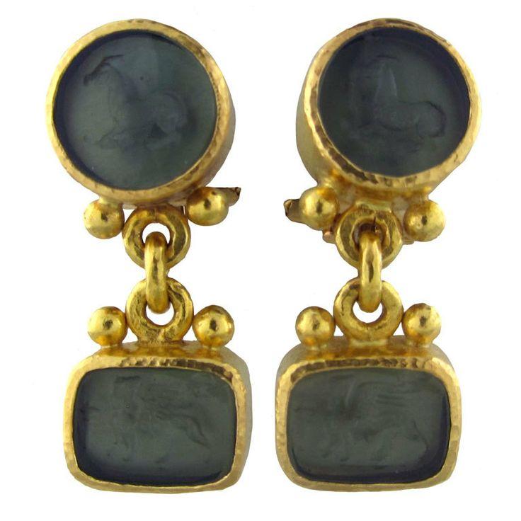 ELIZABETH LOCKE Gold Intaglio Drop Earrings