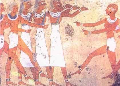 Fig. 11. Danzarinas de la tumba de Antefoker. Tebas. Comienzos de la Dinastía XII.