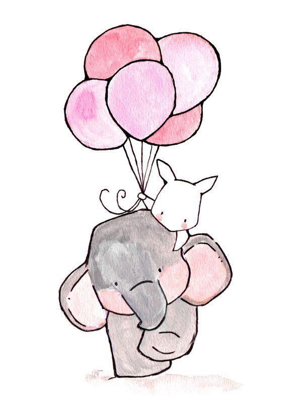 Слонёнок и зайчонок идут с воздушными шариками