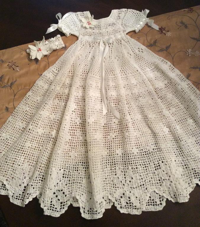 (4) Name: 'Crocheting :  crochet poinsettia christening gown
