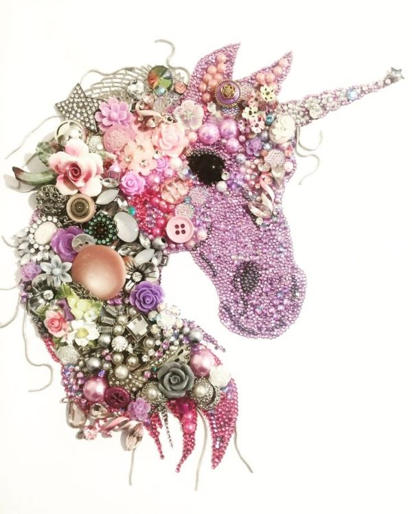 Unicorn Button art and mixed media art by lessie | Vintage crafts ...