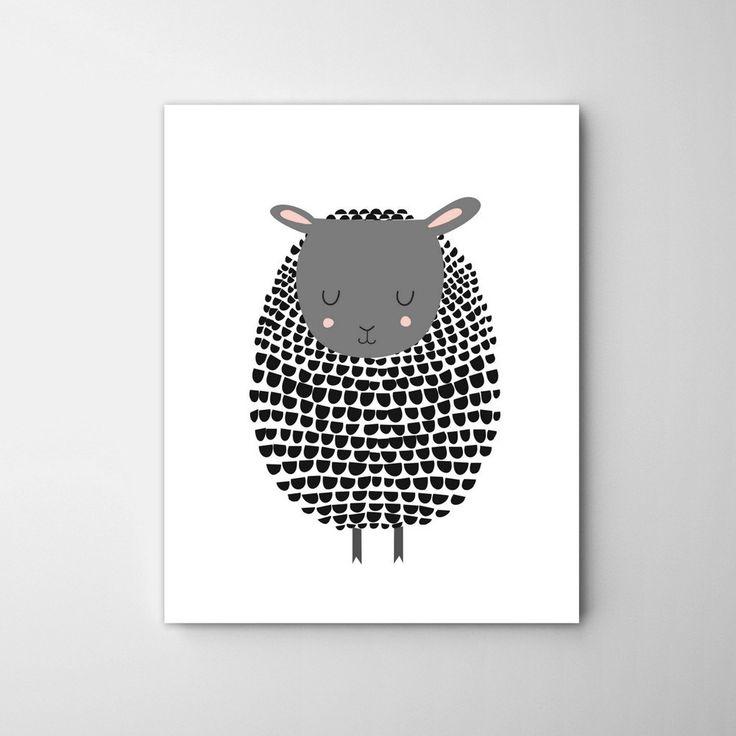 Zwarte schaap Print Black Sheep kunst lam Print lam door CocoandBlu