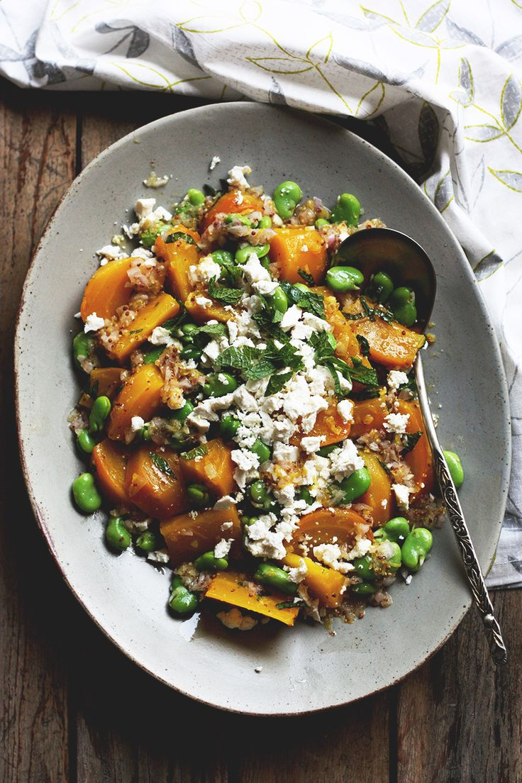 Golden beet and fava bean salad with ricotta salata and mint // From the Land we Live on