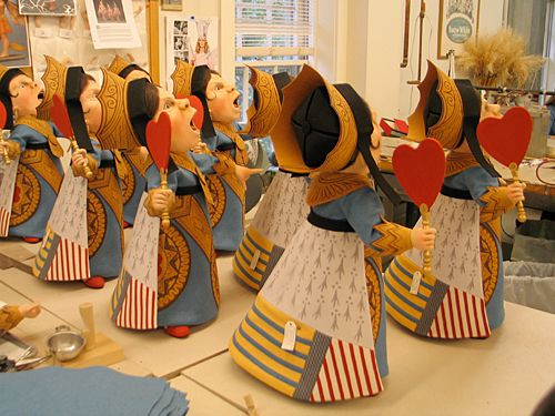 R. John Wright Dolls - Production of Queen of Hearts. Completed Queens are ready for packaging. #RJWDolls #RJohnWrightDolls #CollectibleDolls