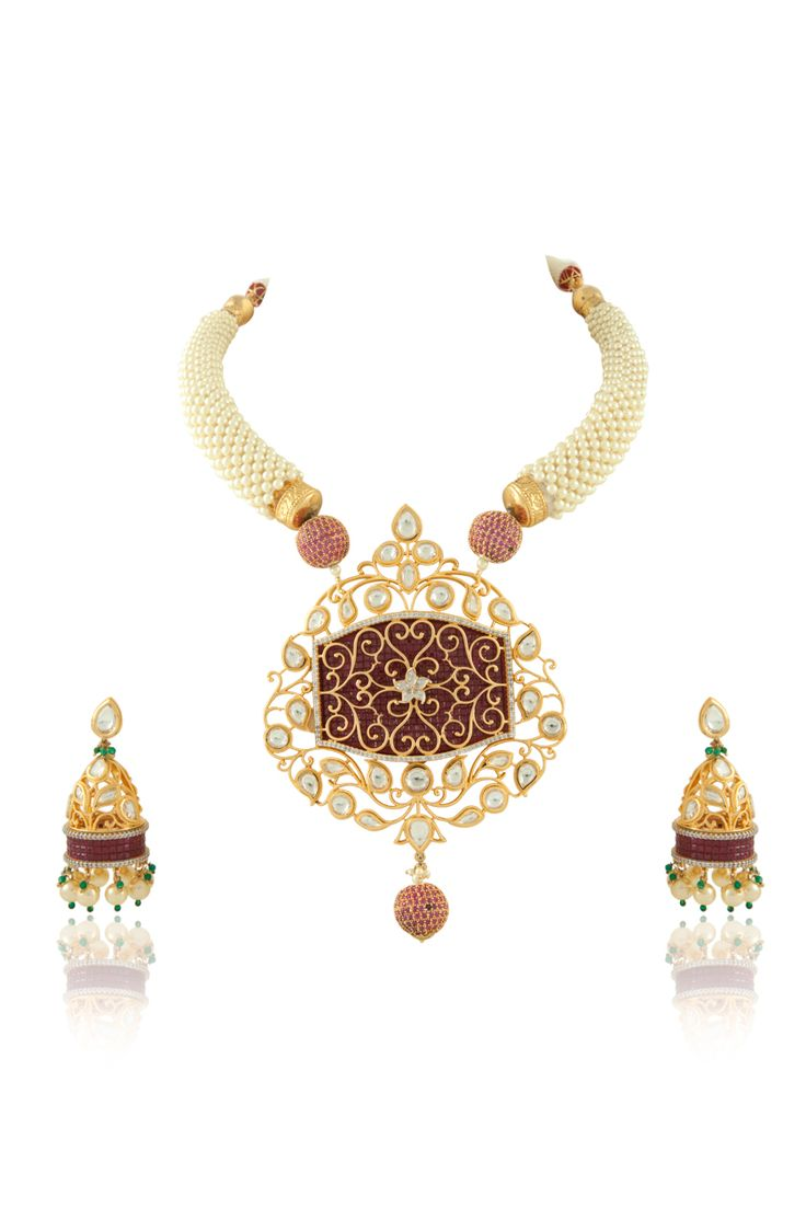 Vilandi pendant set with ruby stones studed in invisible setting with pearl hasli. Item number J15-218