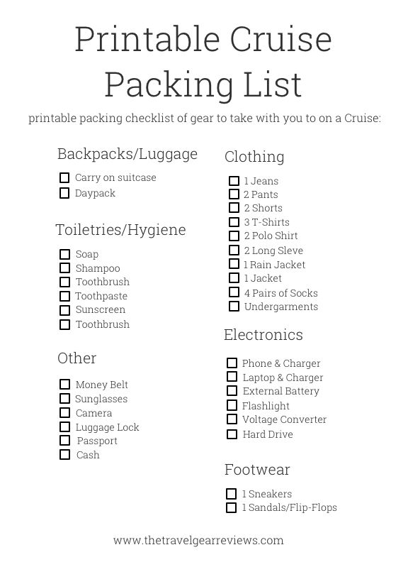 packing list for cruise