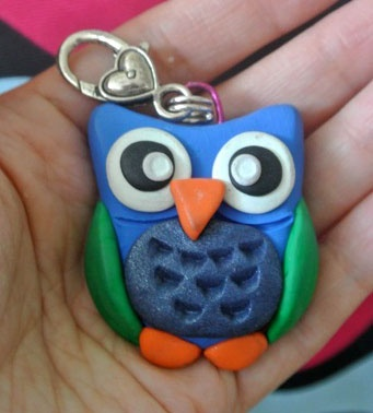 """PikuHibu Owlet Keychain"" - 1.5"" approx tall. Various body colours can be specified."