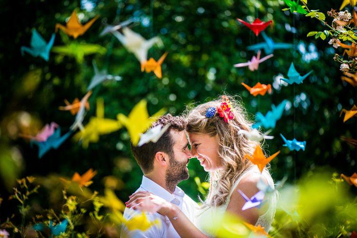 bruiloft duizend 1000 kraanvogels origami kleuren fotoshoot bruidspaar rijk van de keizer