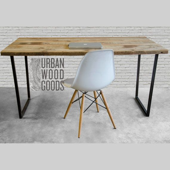 modern wood desk with reclaimed wood top in choice of sizes or finishes - Modern Desk Design
