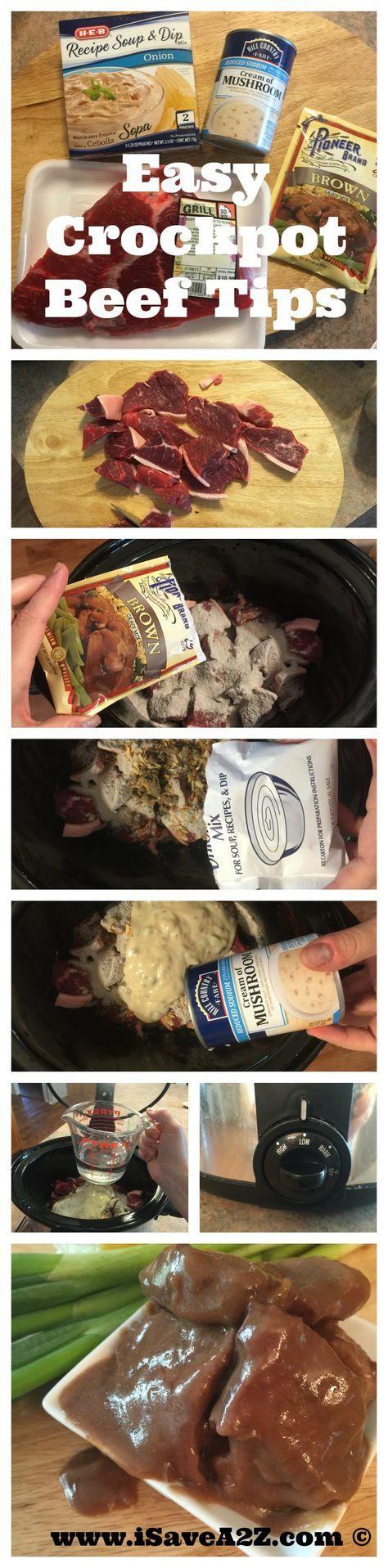 Easy Crockpot Beef Tips Recipe - iSaveA2Z.com