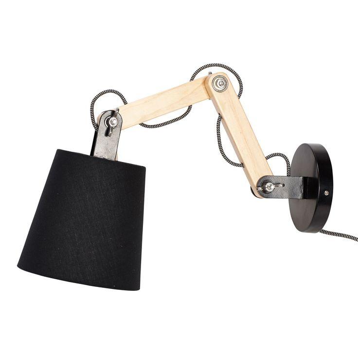 Hübsch wandlamp hout/stoffen lampenkap zwart