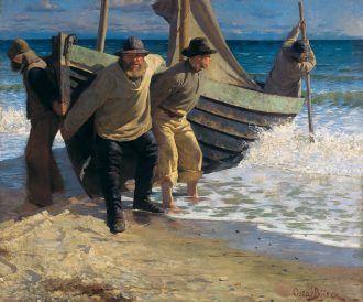 Oscar Björck: Launching the boat. Skagen. 1884   Skagens Kunstmuseer    Art Museums of Skagen