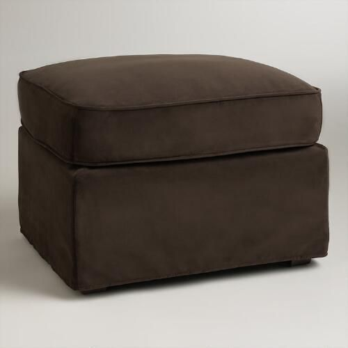 One of my favorite discoveries at WorldMarket.com: Chocolate Brown Velvet Loose-Fit Luxe Ottoman Slipcover