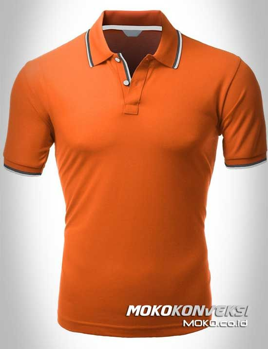 Polo Shirt Dual Stripes Accent | MOKO.CO.ID Design Kaos Polo Warna Orange.