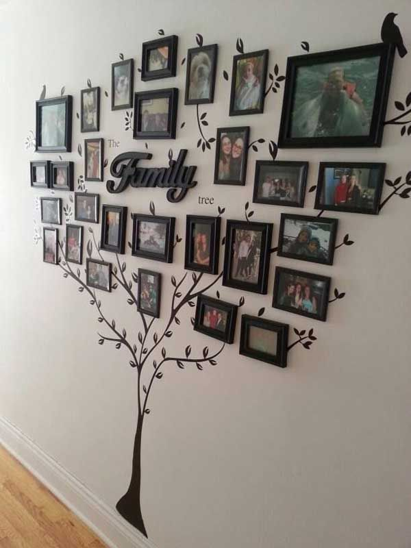 Bonita idea para decorar una pared con fotos familiares... Árbol familiar