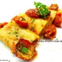 Paccheri allo zafferano con ragù di gallinella e melanzana rossa di Rotonda | Siciliani creativi in cucina