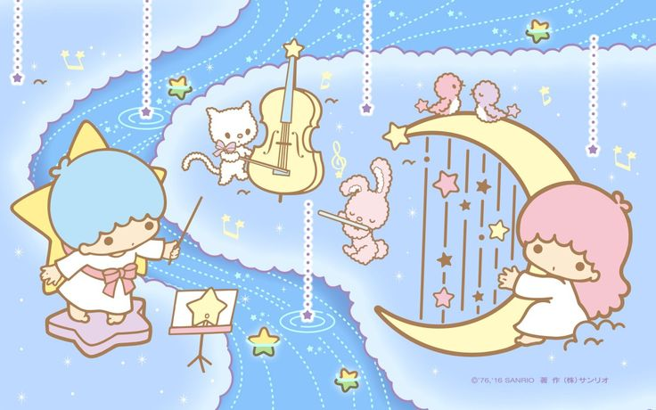 【Android iPhone PC】Little Twin Stars Wallpaper 201706 六月桌布 日本官方Twitter票選雨中音樂會版