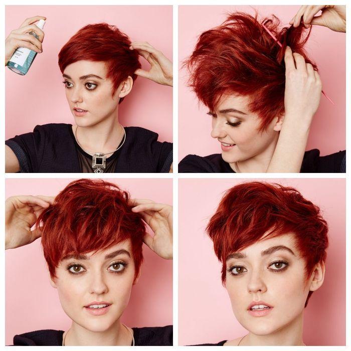 Idée Coiffure : idée pour coiffer une coupe pixie courte à l'aide d'un produit stylisa ...