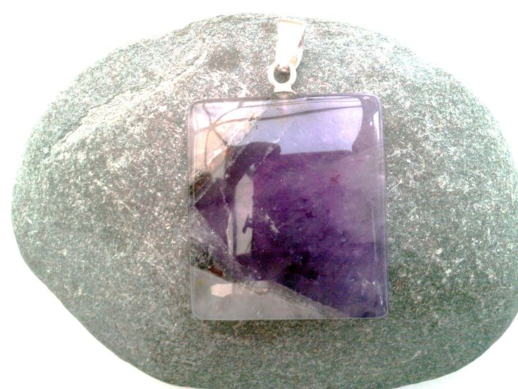 Large amethyst sterling silver pendant, highly polished