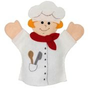 CHEF HAND PUPPET: This Chef hand puppet can help you whip up a batch of play dough (http://mommyfootprint.com/the-perfect-home-made-play-dough-recipe/) or the perfect chocolate cake. The Chef is made of high quality felt, hand sewn and glued with a non-toxic tacky glue