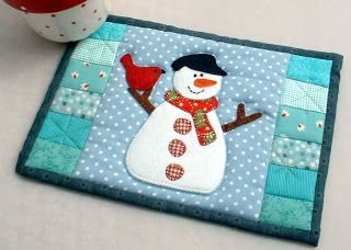 Snowman mug rug                                                                                                                                                                                 More