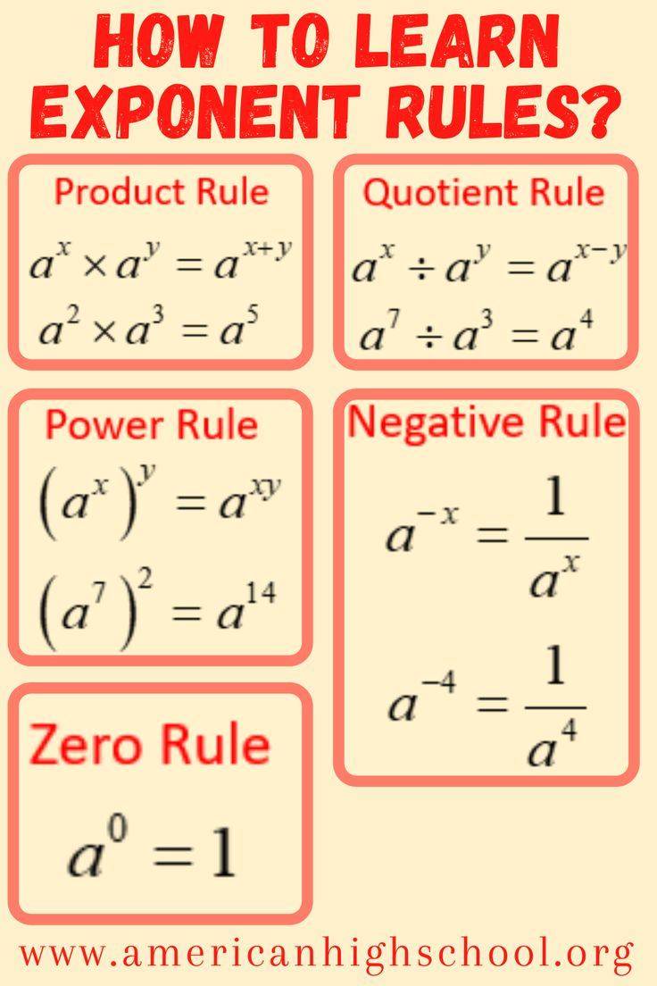 How To Learn Exponent Rules Learning Mathematics Studying Math Math Lessons What are rules for adding exponents