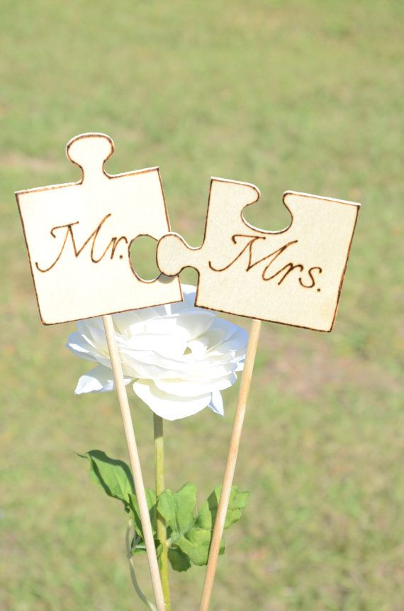 Wedding Mr and Mrs puzzle cake topper  2013 by BellaBrideCreations, $19.99