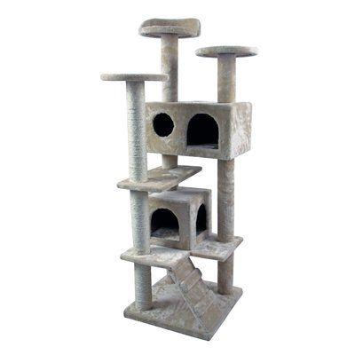 "HidingCatTree 50"" Tower Furniture Scratch Post Kitty Pet House Play Furniture Sisal Pole and Stairs Cat Tree and Condo"