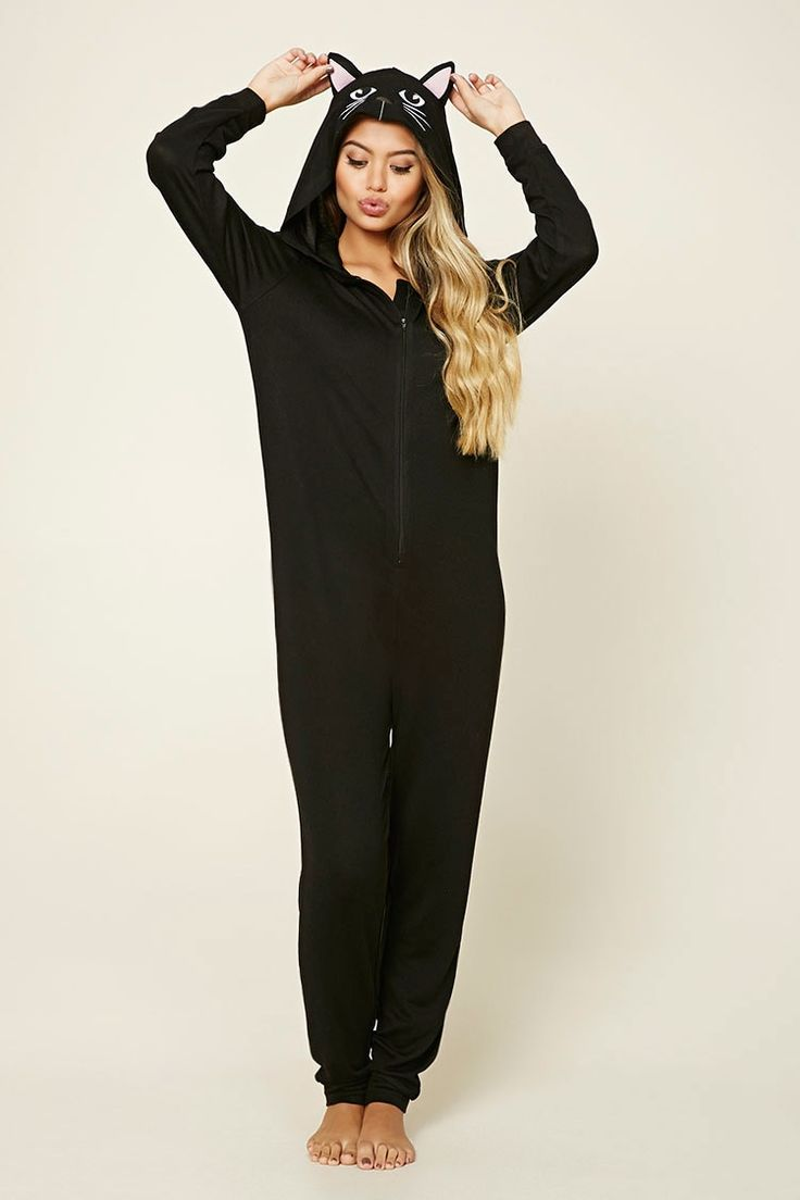 A knit pajama jumpsuit featuring an a cat embroidery on the hood with protruding ears, a zipper front, long sleeves, and ribbed trim.