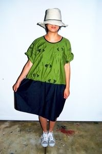 Two toned green dress