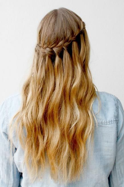waterfall braid -- wonder if the braid would get damaged when pulling out the veil comb...