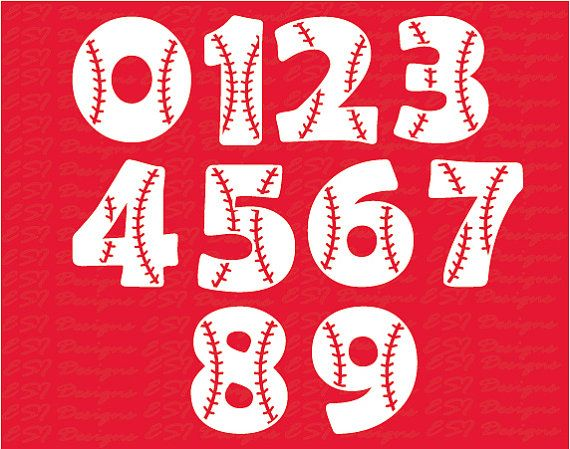 Baseball Font svg Numbers SVG DXF EPS svg by ESIdesignsdigital