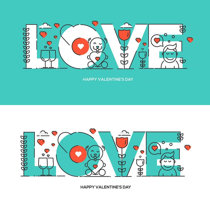 Flat line design Valentine's day greeting card on Behance